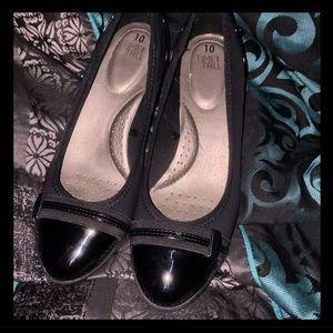 Sz 11 Black Wedge Dress Shoe Patent Toe